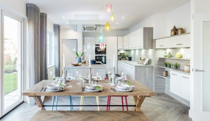 A spacious dining room and kitchen at Kingfisher Park development in Balerno which is a sell out success with help of Property PR