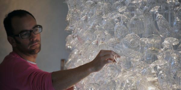 Wine glass chandelier PR photos arranged by food and drink publid relations agency, Holyrood PR in Edinburgh, Scotland