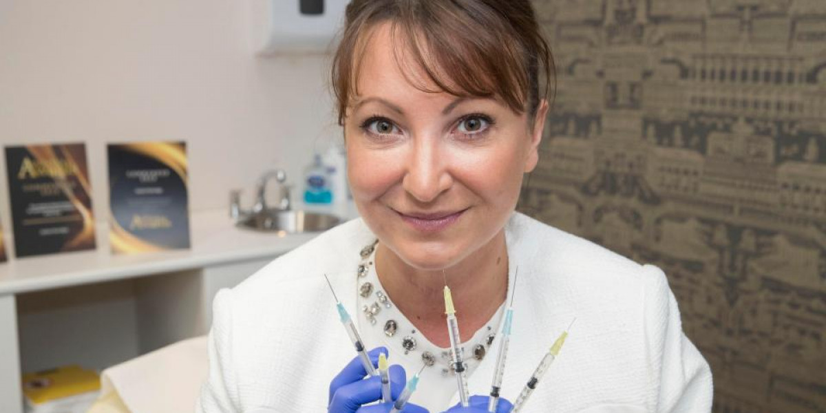 Facial injection expert with syringes for hair and beauty PR campaign