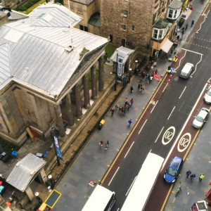 Drone filming Scotland expert at a PR agency in Edinburgh showcases expansion of city-centre hotel, Ten Hill Place