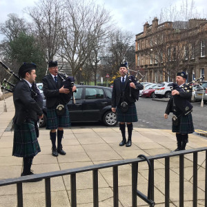 Charity PR Haddington Pipe Band performing at the RHSC as part of their living advent calendar