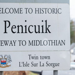Property PR photography of Penicuik town sign