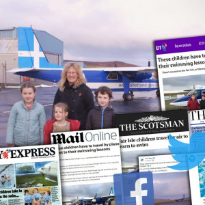 A collage of coverage achieved for a public sector PR story about three Fair Isle kids who fly to their swimming lessons