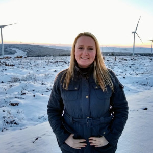 Renewables PR photography of Jeannie Kielty at Kype Muir extension site