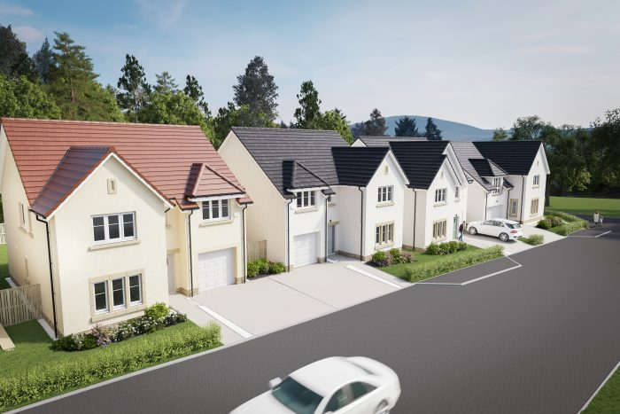 Belwood Oaks street scene at CALA Homes (East) Penicuik development. A Property PR story