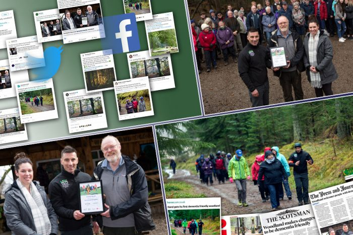 Charity PR coverage collage of media success as Paths for All launch Scotland's first Dementia Friendly Woodland
