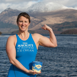 Ice Swimmer Jade Perry is pictured in branded Mackies Gear at Loch Lomond, with ice cream pint