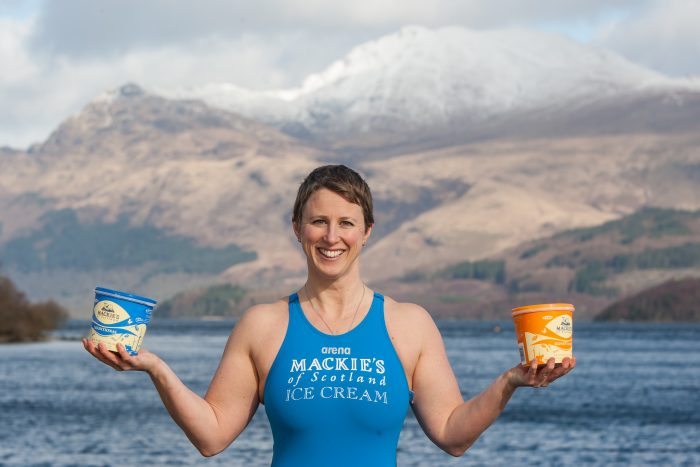 Jade Perry is pictured at Loch Lomond at Luss, Scotland holding a Tub of Mackies Ice Cream