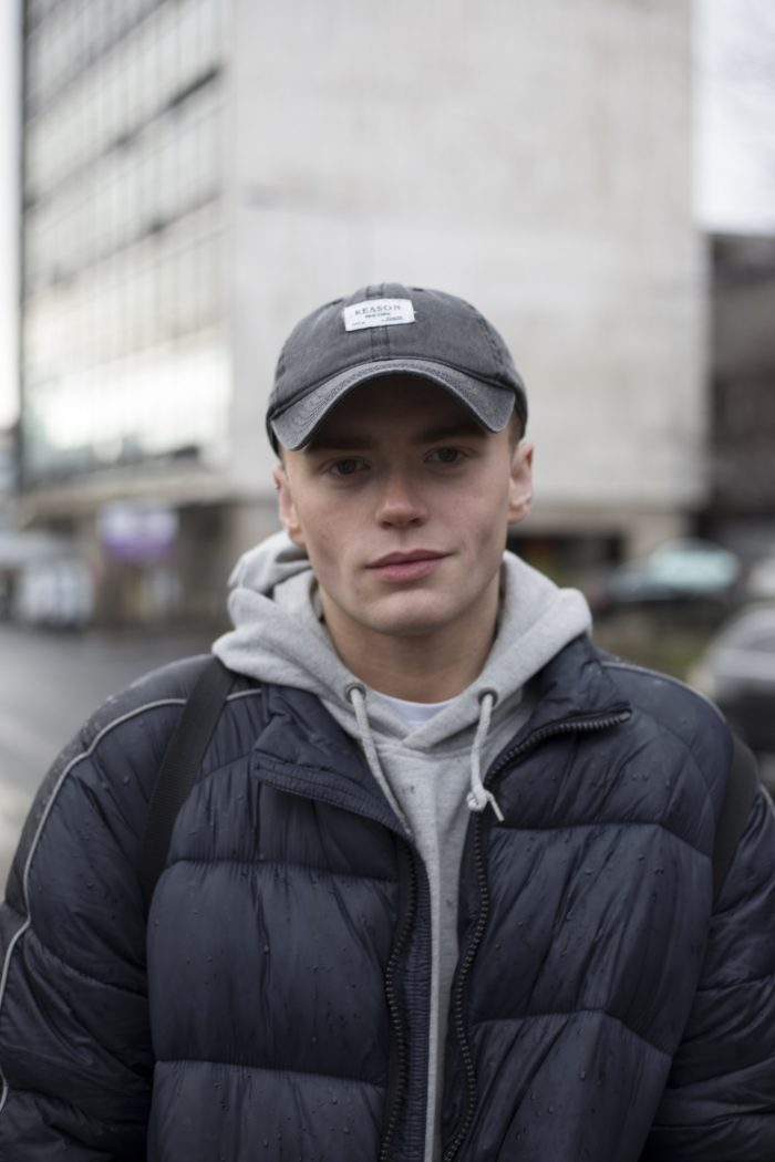 Edinburgh PR agency shares a photograph of Paul Connor, 22, on Glasgow's streets. Photograph by Anna Hunter for Humans of the Walk exhibition by Paths for All.