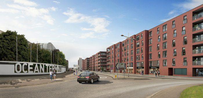 CGI of CALA Homes Waterfront Plaza