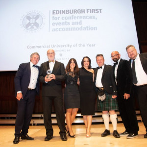 A team from Edinburgh University Accommodation Catering and Events on stage at the recent CUBO awards