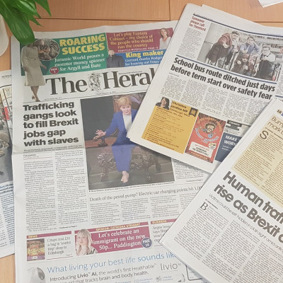 Herald front page coverage from Scottish PR success