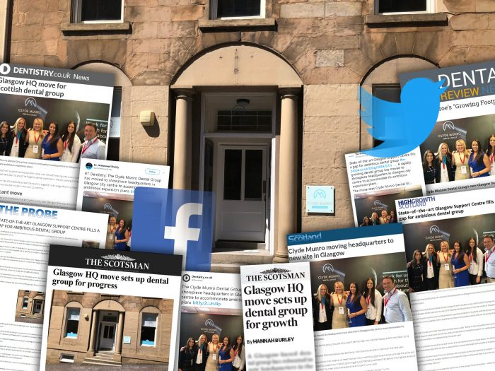 coverage achieved by dental PR experts, Holyrood PR on Clyde Munro's new Glasgow HQ