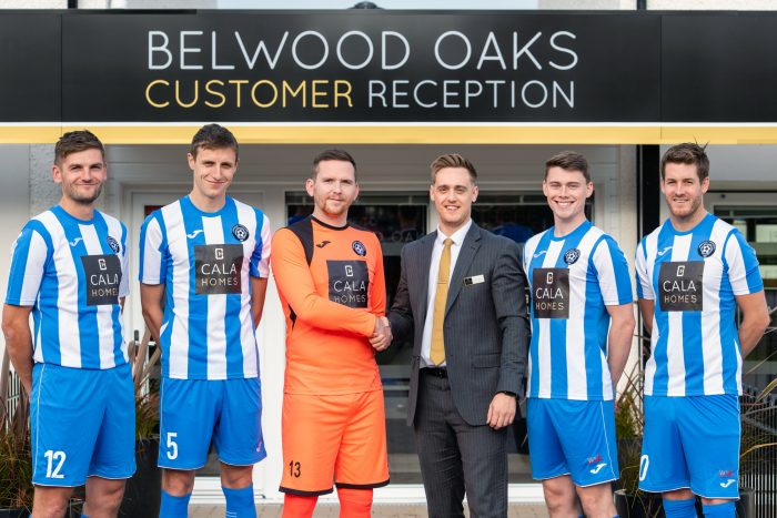 Edinburgh PR photography shows Belwood Oaks Sales Advisor Blair Dickson with players John williams, Darrell young, Kevin swain, Sam jones and Aaron somerville CALA Homes (East) has made a continued commitment to support Penicuik Athletic football team by sponsoring them for 10 years in a row