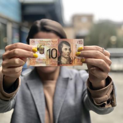 Scottish PR photograph of a £10 note