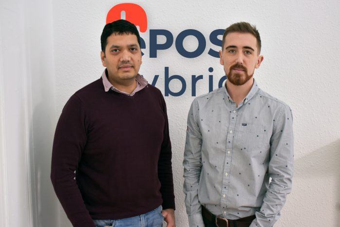 Tech PR photography of Andrew Gibbon, Head of Marketing and Bhas Kalangi, Founder of ePOS Hybrid