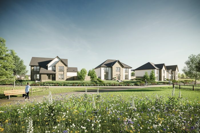 CGI image showing a street scene at CALA Homes (East)'s development at Cammo Meadows, north west Edinburgh | Property PR