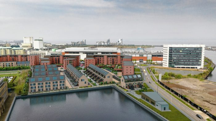 CGI aerial image of Waterfront Plaza by CALA Homes, showing the apartments, colonies and townhouses