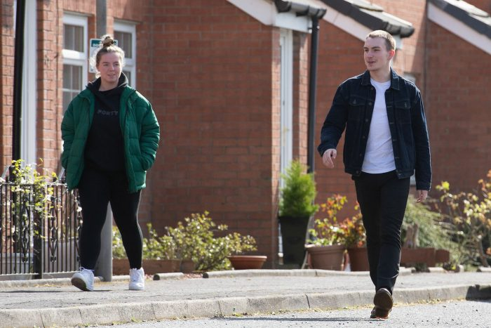 Image showing two social distancing walkers in Glasgow