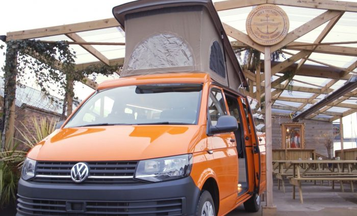 Jerba Campervan in front of Down The Hatch Bistro in South Queensferry