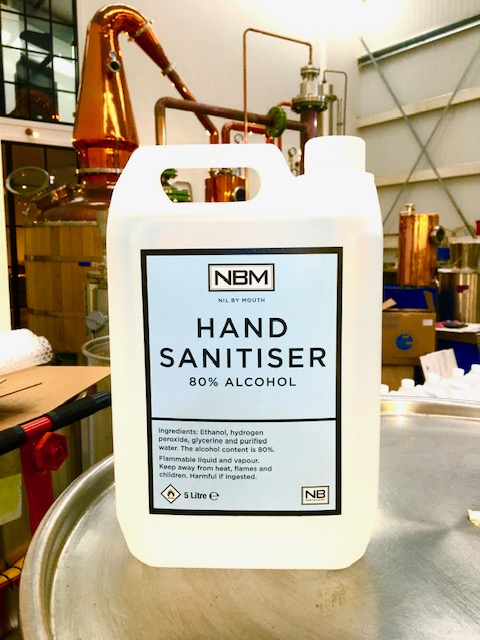 A large bottle of NBM hand sanitiser at NB Distillery's base ahead of its shipment for use at CALA's sales offices