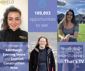 social care PR photography Bield Students at Home success post graphic