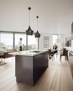 property PR photography interior kitchen shot of Depot apartments, Dunfermline Linen Quarter
