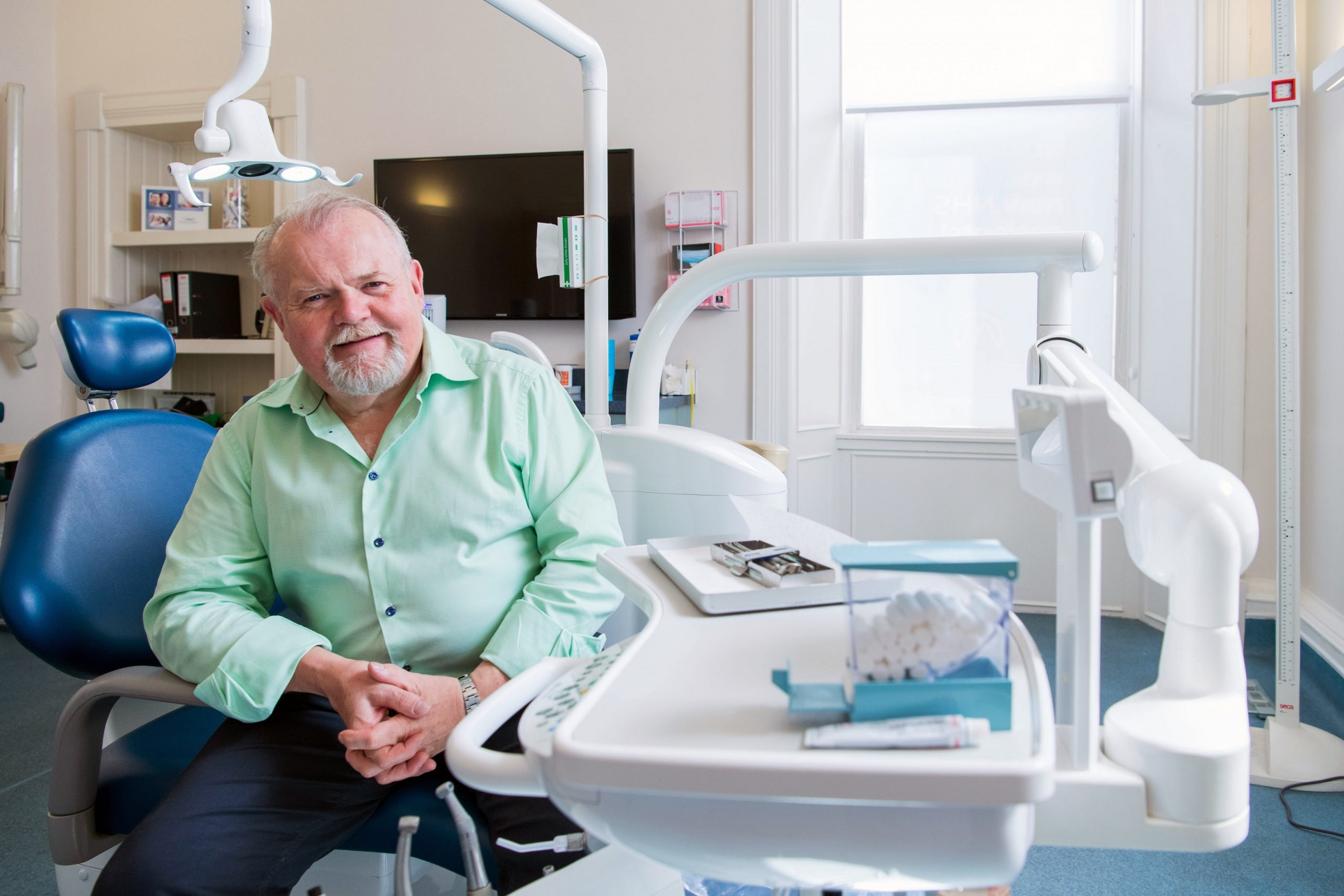 Health PR photography shot of Jim Hall, Chief Executive of Clyde Munro Dental Group.
