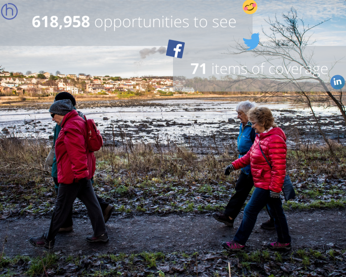 Scottish PR photography, Paths For All Winter Walking success graphic.