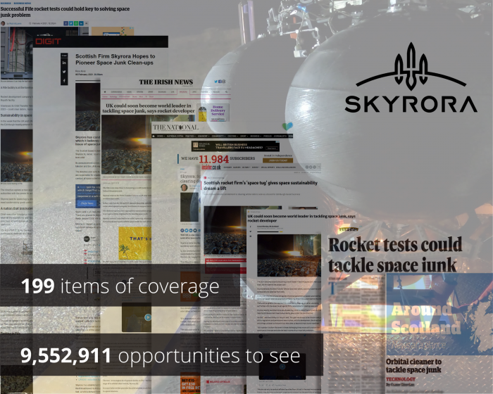 Tech PR graphic on Skyrora space tug success post