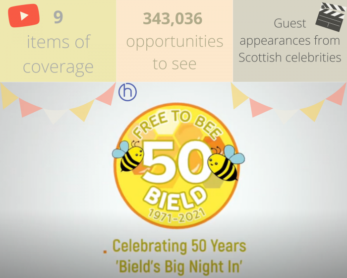 Social care PR success post graphic on Bield housing and care's Big Night In by Scottish PR experts Holyrood PR in Edinburgh