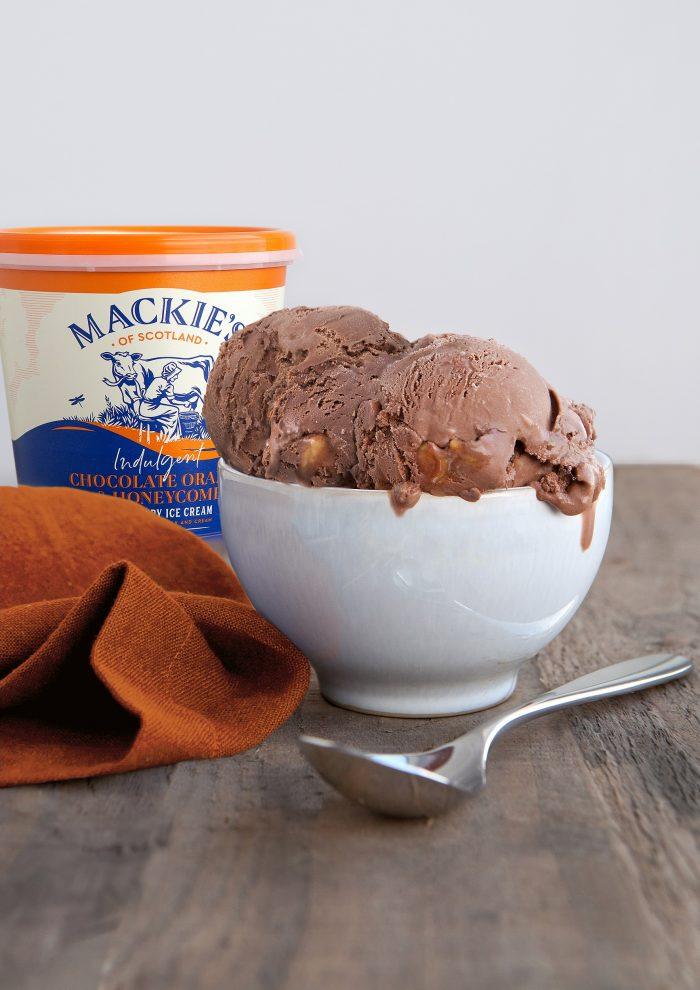 Food and Drink PR photography, Mackie's choc orange ice cream in bowl, Mackie's of Scotland.