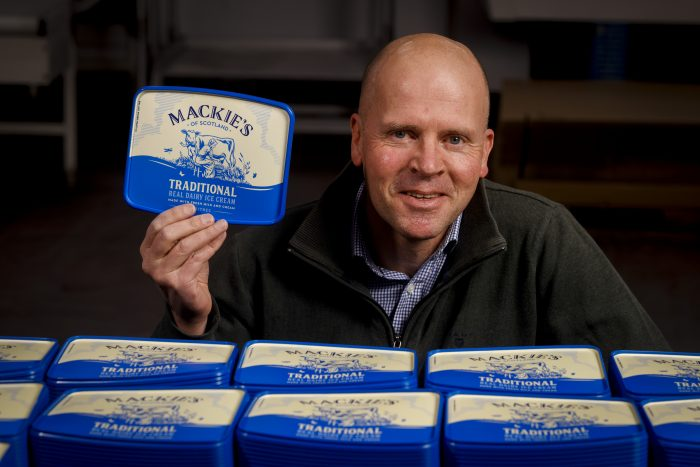 Food and Drink PR photography, Mac Mackie with new tub, Mackie's of Scotland.