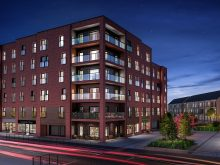Property PR photography, Waterfront Plaza Apartments at Night, CALA Homes (East).