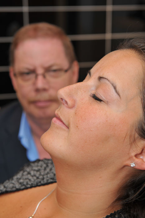 Dental PR photos of a hypnotherapist with a patient