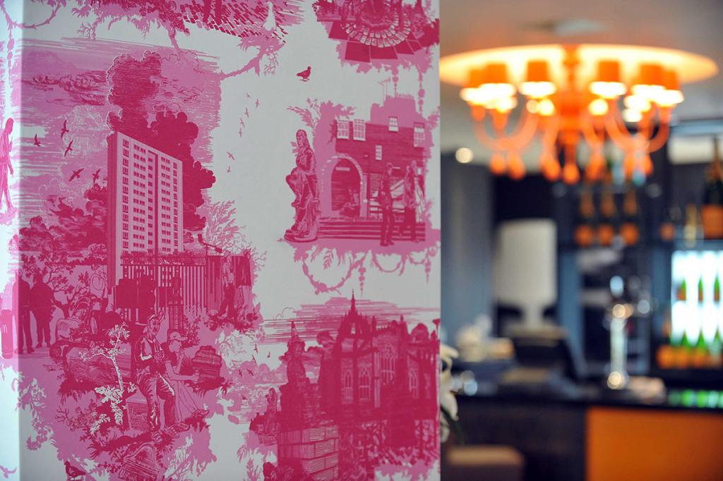 Bespoke pink wallpaper design by Timorous Beastie