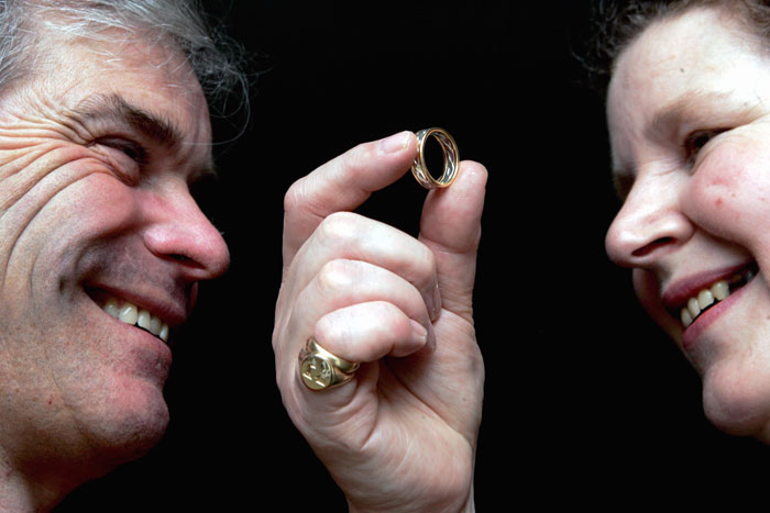 Romantic couple's ring made from rare scottish gold and scottish silver