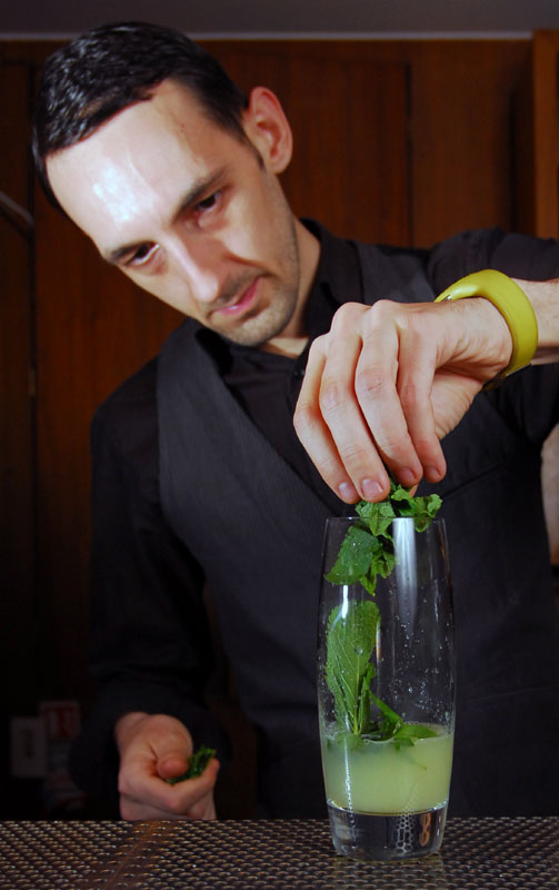 Pub and bar PR photography of Mojitos being made at Rick's Bar in Edinburgh