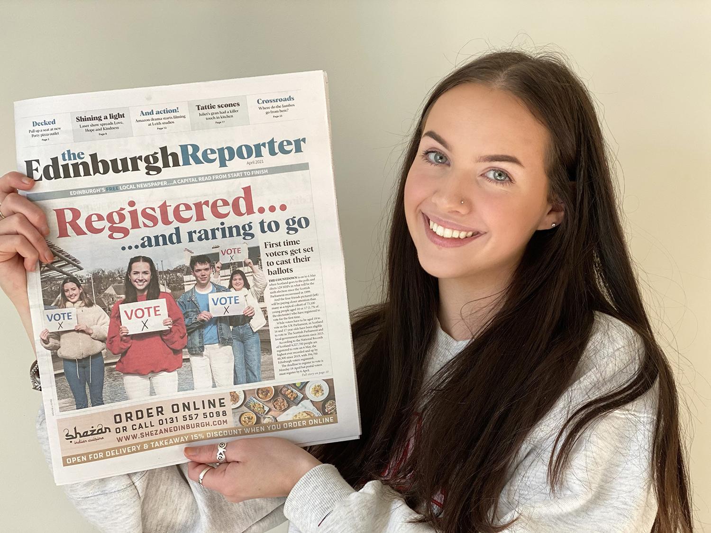 PR Photograhy, Lara holding April edition of The Edinburgh Reporter.