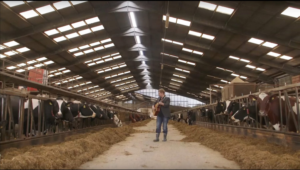 PR photography of musical experiment in Mackie's cow shed