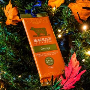 Charity PR photography Mackies Chocolate orange hanging on tree