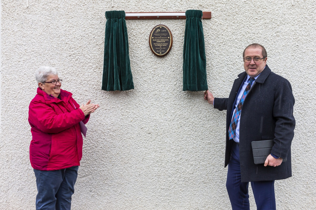 Cairn Housing Association's newest development is officially opened by Graeme Dey MSP with Hazel Farquhar