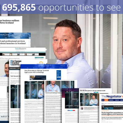 Professional services PR photography Aberdeins launch success coverage graphic