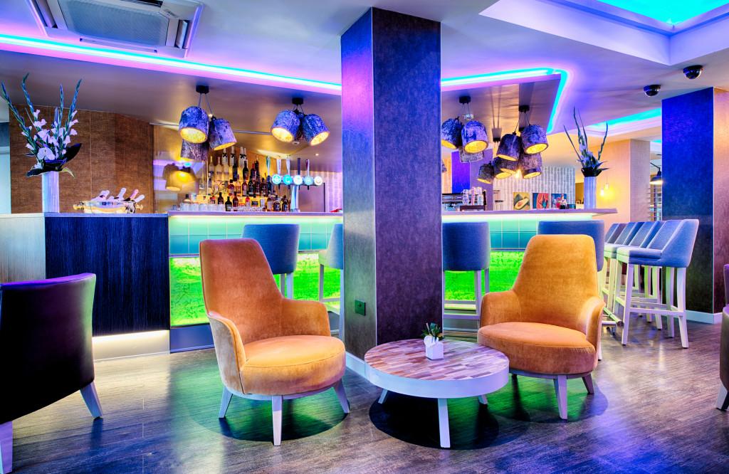 The stylish bar area at the Leonarod Hotel in Edinburgh, Scotland