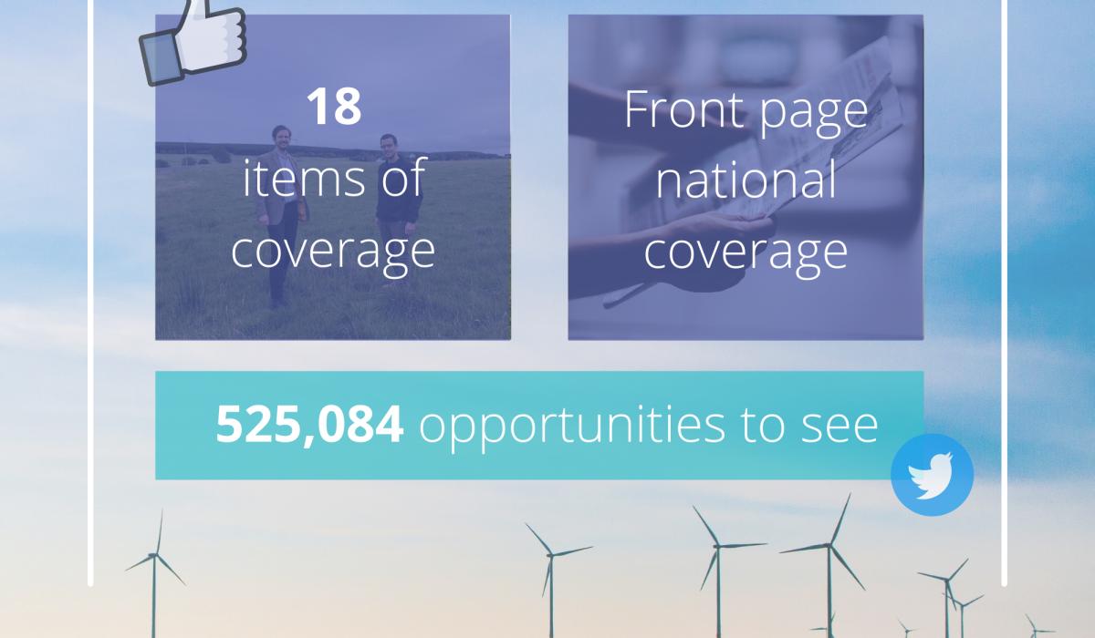 Scottish PR photography, Banks Renewables Lethans extention success graphic.