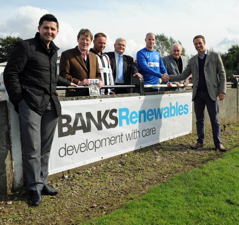 PR photos of wind farm sponsorship deal for Cumnock Juniors