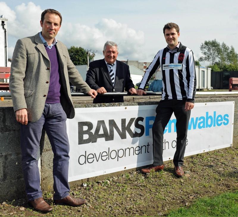 PR photos of sponsorship deal between Banks Renewables and Cumnock Juniors
