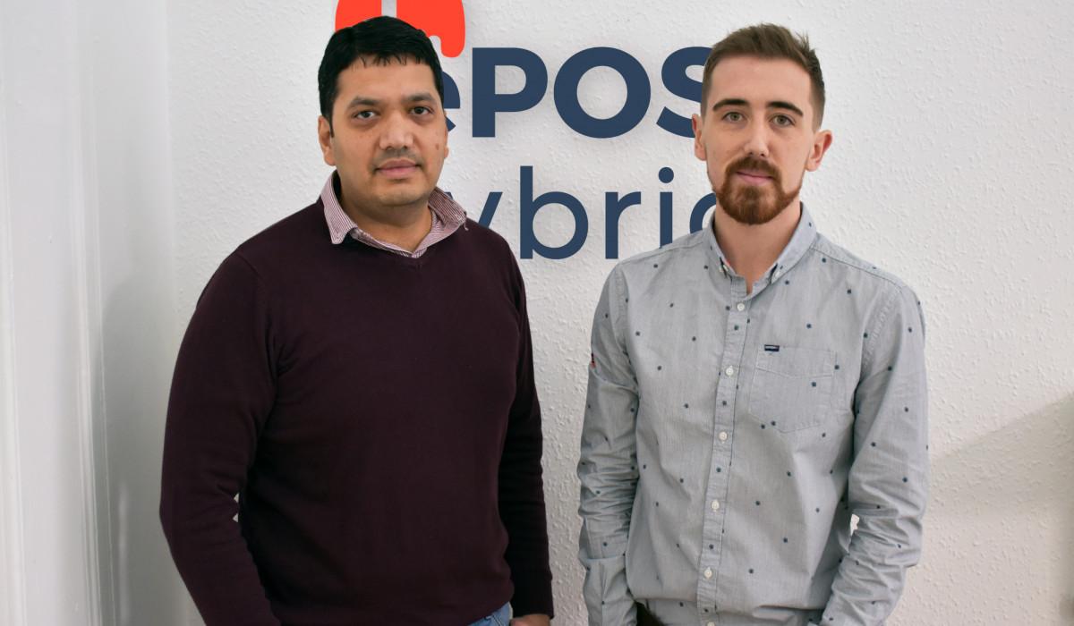 Tech PR photography of Andrew Gibbon, Head of Marketing and Bhas Kalangi, Founder of ePOS Hybrid