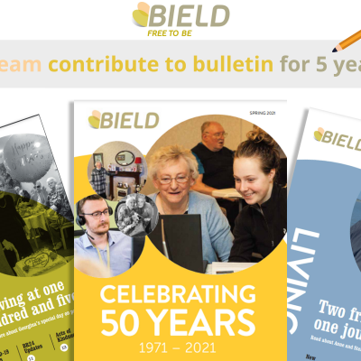 Social care PR photography, PR team contribute to Bield bulletin for 5 years success graphic.