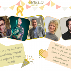 Social care PR photography, Bield celeb messages success graphic.